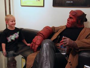 Ron Perlman visits fan as 'Hellboy'