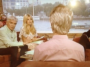 Picture taken from Phillip Schofield's Twitter, as an anonymous guest is made to look identical to him on This Morning on July 11th