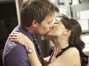 Rhys and Vanessa kiss.