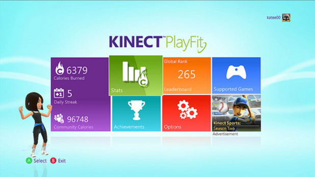 Screenshot of the Xbox Kinect PlayFit game