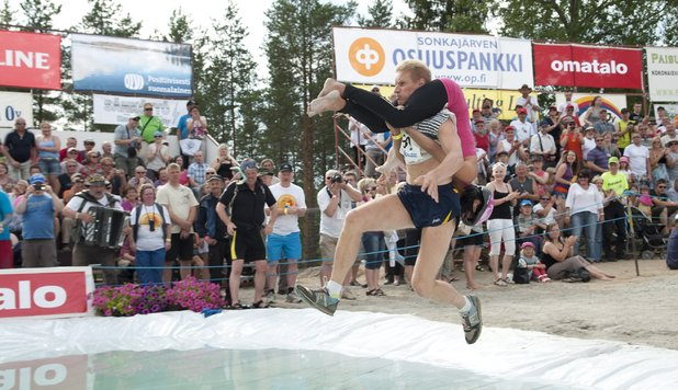 World Championship wife-carrying competition in Sonkajarvi, Finland