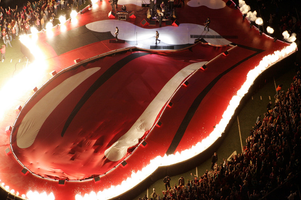 The Stones' set at the Super Bowl