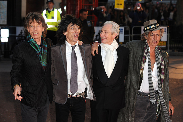 Mick Jagger, Ronnie Wood, Charlie Watts and Keith Richards of The Rolling Stones arrive for the UK Film Premiere of Shine a Light at the Odeon West End Cinema