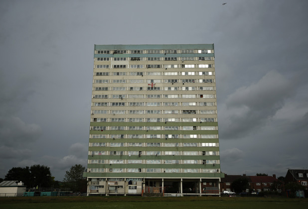 A general view shows the Fred Wigg Tower in Leytonstone, east London,