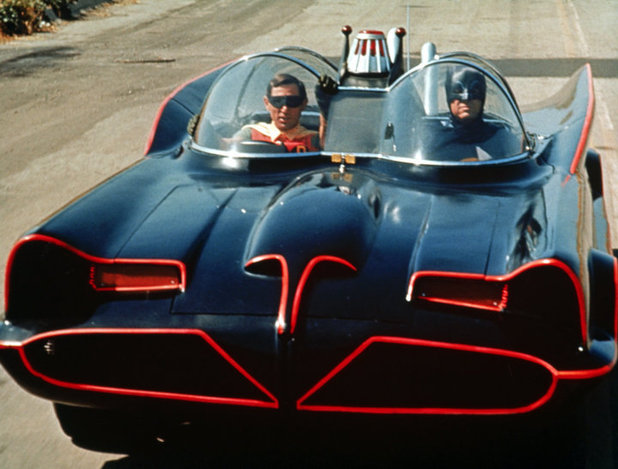 Adam West as Batman alongside sidekick Robin portrayed by Burt Ward in the 1966 TV series of Batman