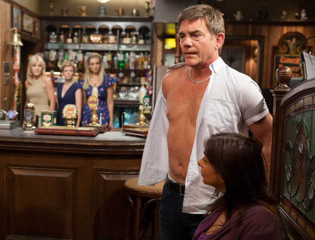 Stella, Leanne and Eva arrive back at the pub and catch Karl and Sunita in a compromising position