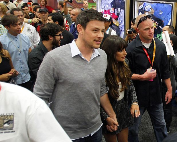 Corey Monteith and Lea Michelle make their way to the Glee panel.