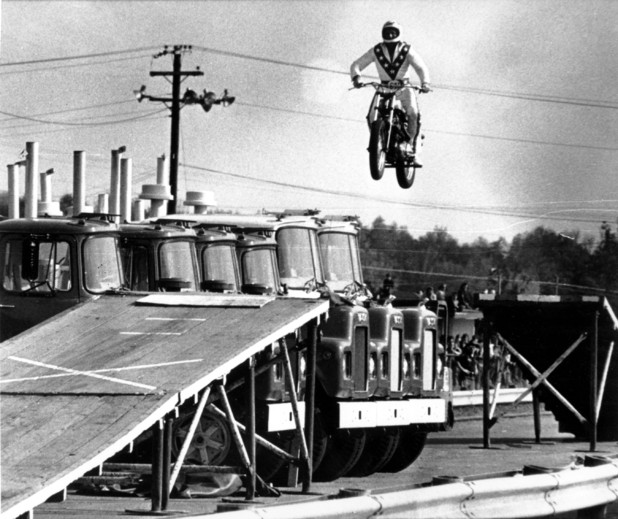 Evel Knievel jumps 6 mack trucks at Dragway 42 in Cleveland, Ohio - May 28, 1974