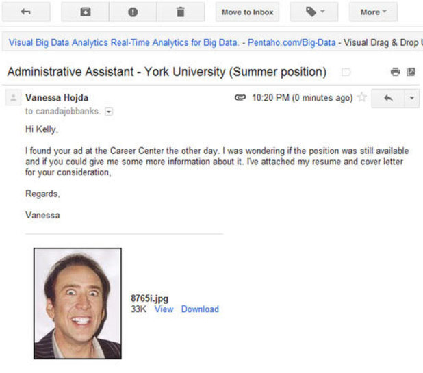 Screenshot of Vanessa Hojda's accidental CV attachment mistake for a job