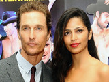 Matthew McConaughey and his wife Camila Alves arriving at a special film screening of Magic Mike at the Mayfair Hotel, London