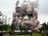 The former Massey Ferguson tower in Tile Hill, Banner Lane, Coventry, as it is demolished in a controlled explosion.