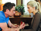 Cameron proposes to Debbie, who accepts - all in front of heartbroken Chas in the Woolpack
