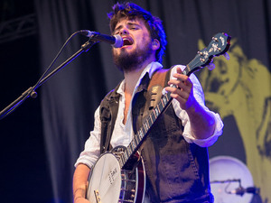 Mumford and Sons performing live on stage during the Optimus Alive Festival in Lisbon