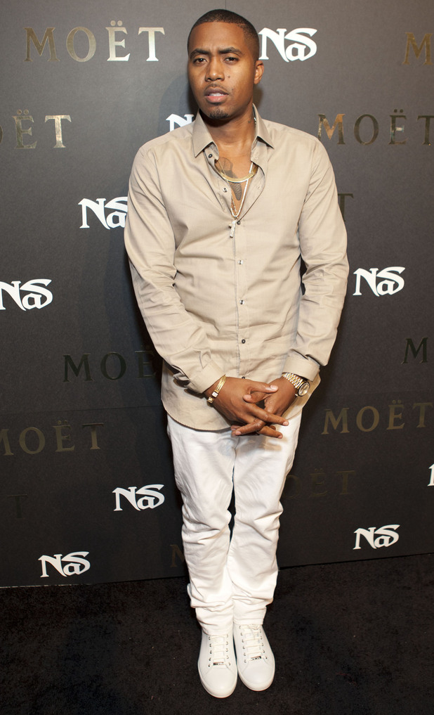 American rapper Nas poses at Rose Lounge in New York during his &#39;Life Is Good&#39; album launch