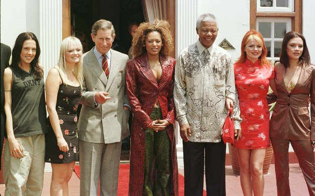Nelson Mandela poses with the Prince of Wales and the Spice Girls