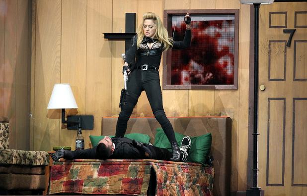 Madonna performs on stage in Hyde Park, London, as part of her MDNA tour