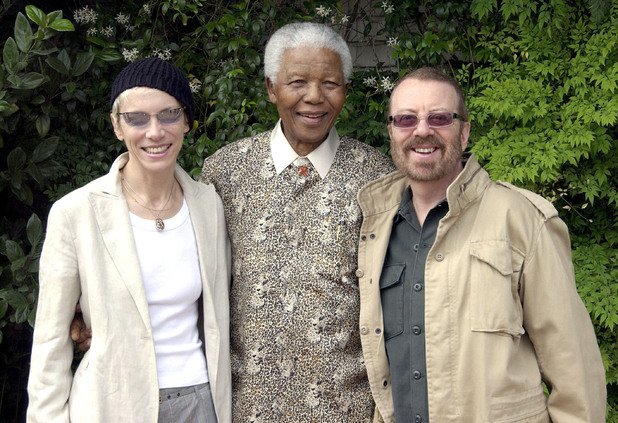 Nelson Mandela with Annie Lennox and Dave Stewart of the Eurythmics at a rehearsal in 2003 for the Nelson Mandella 46664 AIDS benefit concert