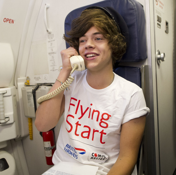 It's Harry's turn to make the flight announcements.