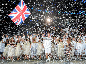 Team GB make their way into the stadium.
