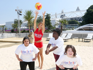 Zoe Hardman doing Beach Volleyball and other sports for Action For Kids charity