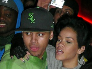 Musicians Rihanna and Chris Brown (domestic violence) embrace each other at the Twenty One club following Brown's concert at Dublin's o2 arena Dublin, Ireland - 08.01.09 ***Not for Internet Use*** Credit: (Mandatory): WENN.com