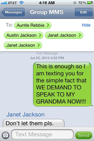 Screenshot of a text message conversation tweeted by Prince Jackson