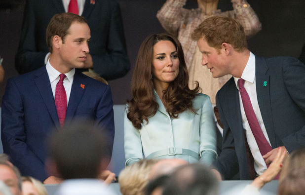 Prince William, Duke of Cambridge, Catherine, Duchess of Cambridge, and Prince Harry during The Opening Ceremony of the London 2012.