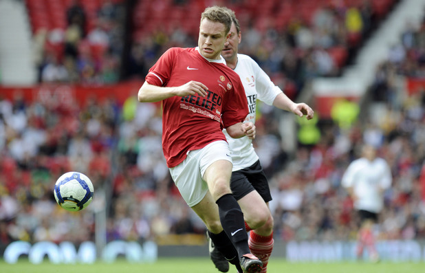 Olly Murs plays football at The Big Red Family Day Out football match - Manchester United Legends v Celebrity Rivals XI in aid of Sport Relief, 2010