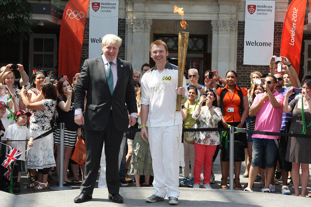 Rupert Grint and Boris Johnson