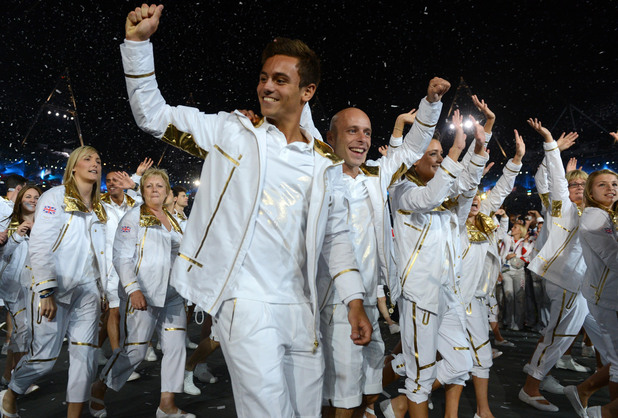 Tom Daley during the team parade at the London Olympic Games 2012 Opening Ceremony