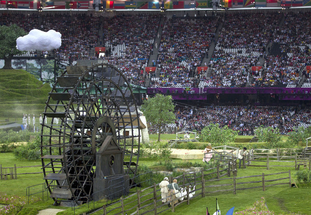 Animals playing their part in the Olympic Opening Ceremony