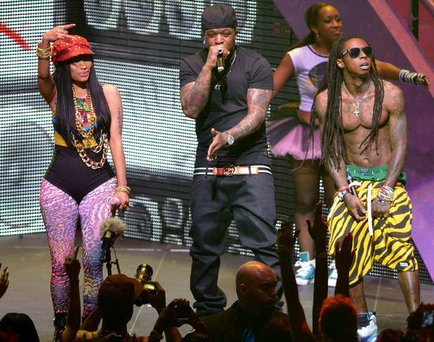Nicki Minaj, Birdman and Lil Wayne performing live together as part of the Nicki Minaj tour at James L Knight Center in Miami, Florida