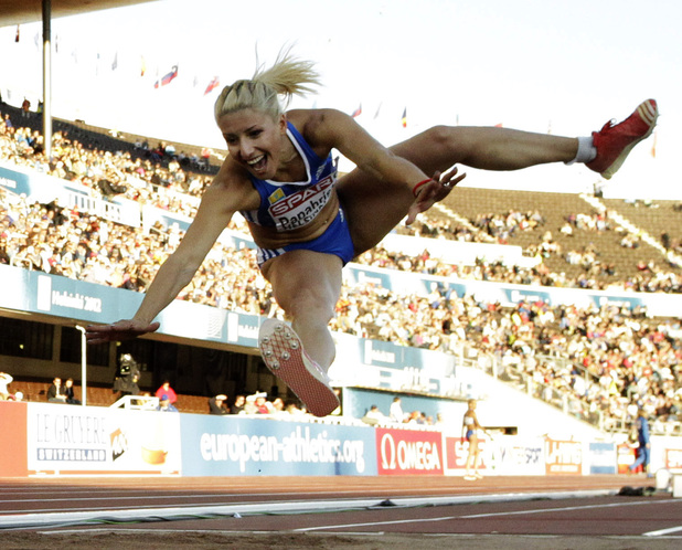Greece's Voula Papachristou soars through the air in the Women's Triple Jump final at the European Athletics Championships in Helsinki, Finland, in this file photo dated Friday, June 29, 2012.