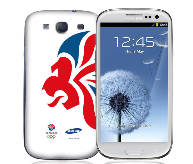 The Samsung Galaxy S3 (white) celebrates team GB