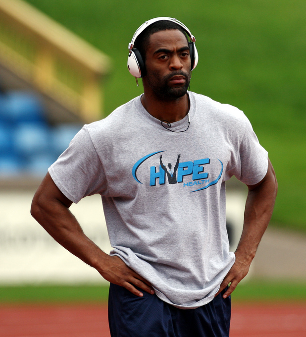 USA&#39;s sprinter Tyson Gay during the training session at the Alexander Stadium, Birmingham.