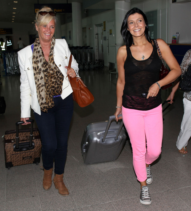 Kym Marsh  preparing to depart from Manchester Airport on her way to Marbella for her hen weekend.