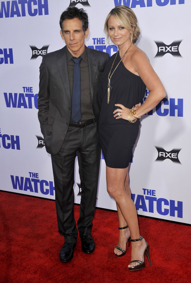 Ben Stiller and Christine Taylor attend the Los Angeles premiere of 'The Watch' at The Grauman's Chinese Theatre