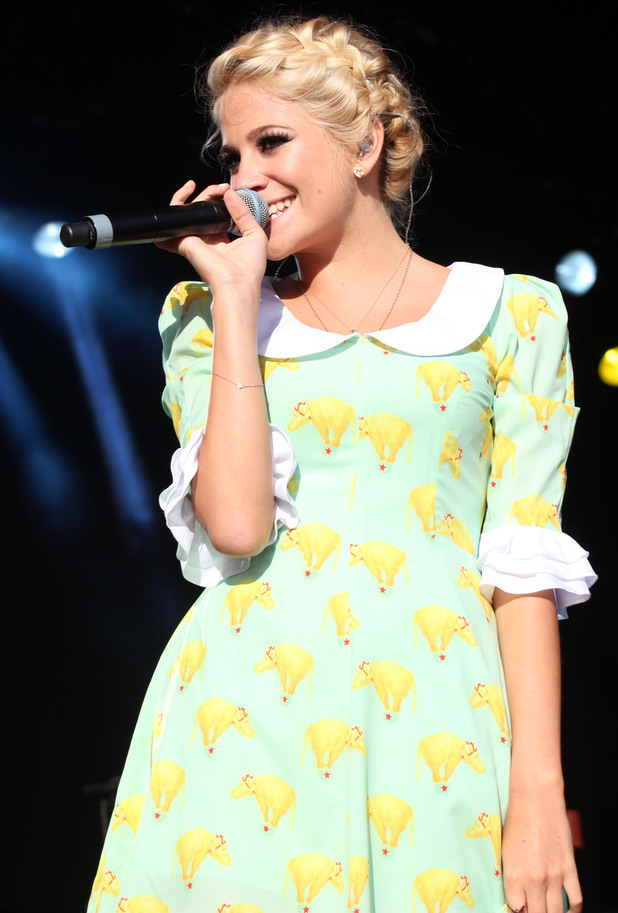 Pixie Lott performs at the Eirias Stadium, Wales.
