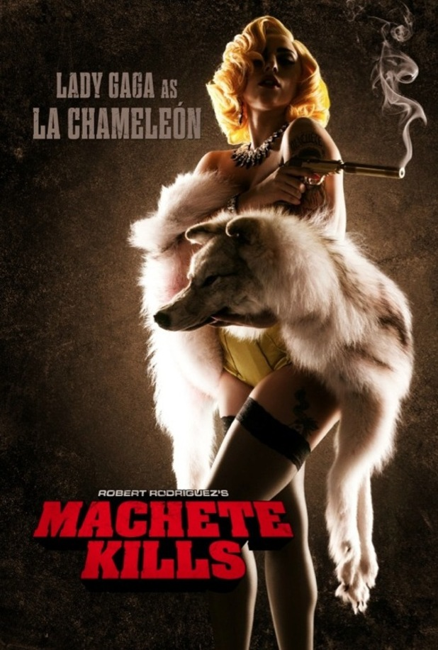 Lady Gaga in film still for Machete Kills, posted by Robert Rodriguez on his Twitter account.
