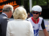 Mark Cavendish meets Prince Charles and the Duchess of Cornwall before the Men's Road Race on the Mall, London.