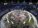 Athletes enter the Olympic Opening Ceremony