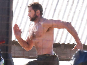 Hugh Jackman on set of &#39;The Wolverine&#39; in Sydney, Australia.