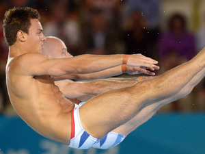 Tom Daley, Peter Waterfield compete during the Men's Synchronised 10m Platform final