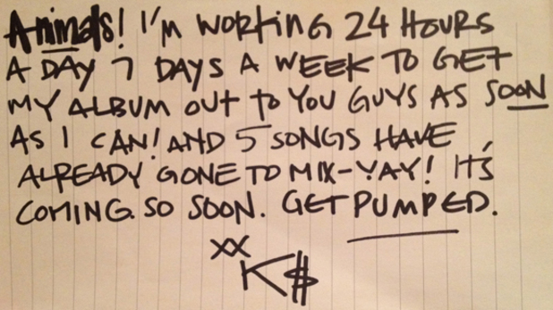 A note written by Kesha