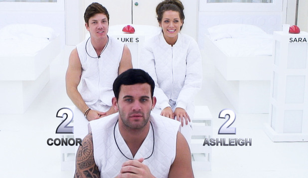 Big Brother 2012 - Day 58: Conor, Luke S and Ashleigh during the &#39;White Room&#39; task