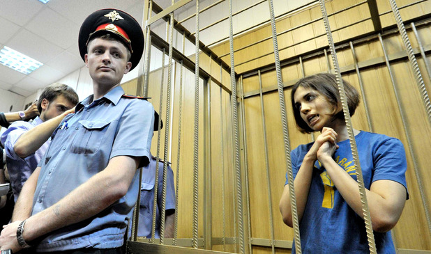 Nadezhda Tolokonnikova of Pussy Riot at a court hearing in Moscow, Russia