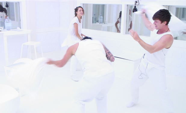 Conor, Sara and Luke S having a pillow fight