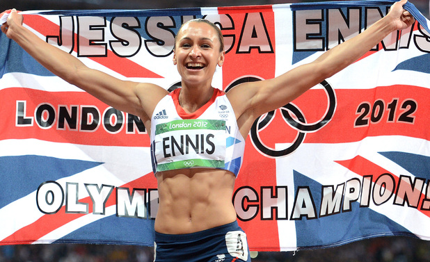 Jessica Ennis celebrates winning the Heptathlon and her long awaited gold medal.