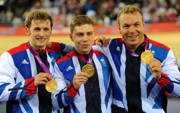 Men's team sprint gold medallists Jason Kenny, Philip Hindes and Sir Chris Hoy