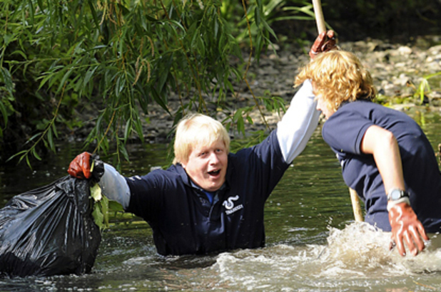 Boris Johnson, fell into a river while urging Londoners to volunteer. 